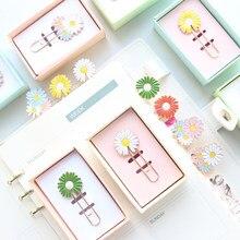 Domikee bonito japonês kawaii metal crisântemo design clipes de papel escritório escola doces braçadeira marcador artigos de papelaria suprimentos