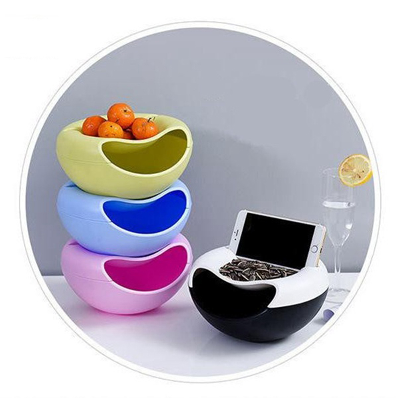 Double Layer Container Box Creative Bowl Dish Layer Phone Holder Dry Fruit Snacks Seeds Containers Plastic Storage Box Hot Sale