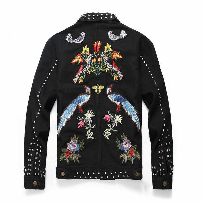 Estilo europeu masculino fino ajuste denim jaqueta moda rebite bordados florais jaquetas para homens do punk jean jaqueta streetwear outwear