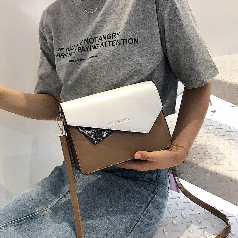 Couleur irrégulière 2019 nouveau sac carré à bandoulière en peau de serpent, Version coréenne Simple, sac incliné Baitao