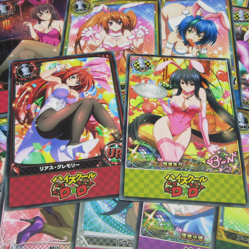 20pcs Anime Sexy Bunny Girl Paper Cards High School DxD Character Cosplay Rias Xenovia Figure UR SSR Season 5 Fanfiction Card