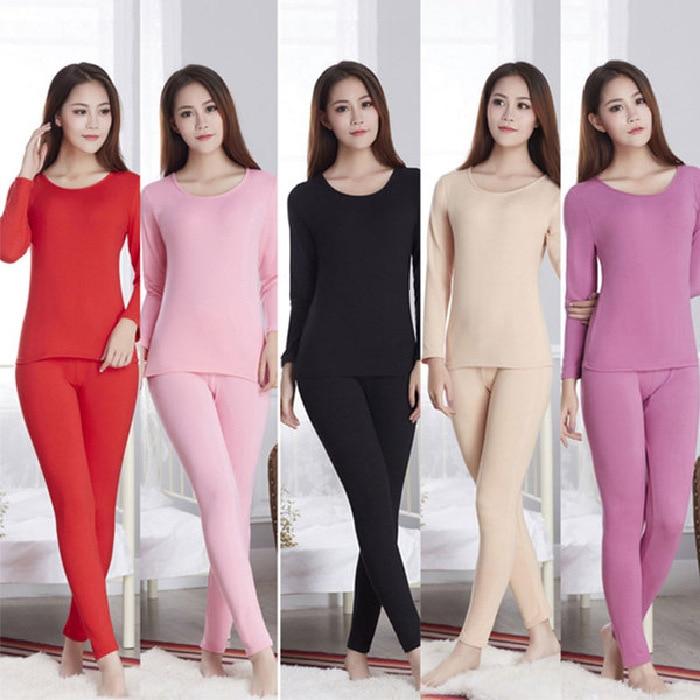 Thermal Underwear Women's Long Sleeve Solid Color Crew Neck Set Qmilch Fleece Plus Velvet Thermal Underwear M-xxl13 Color