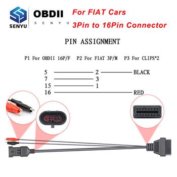 Dla Fiat 3 Pin OBD do OBD2 16Pin Adapter złącza dla Fiat 3 Pin OBD 2 OBD2 samochodów diagnostyczne Auto narzędzie ODB2 OBD2 przedłużacz tanie i dobre opinie JFIND CN (pochodzenie) For Fiat 3 Pin Latest Version Plastic Złącza i kable diagnostyczne do auta 0 2kg OBD to OBD2 Extension Cable