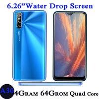 Teléfono Inteligente A30, Global Quad Core, 4 GB RAM, 64 GB ROM, cámara de 13,0mp, pantalla gota de agua de 6,26 pulgadas, Android, identificación facial