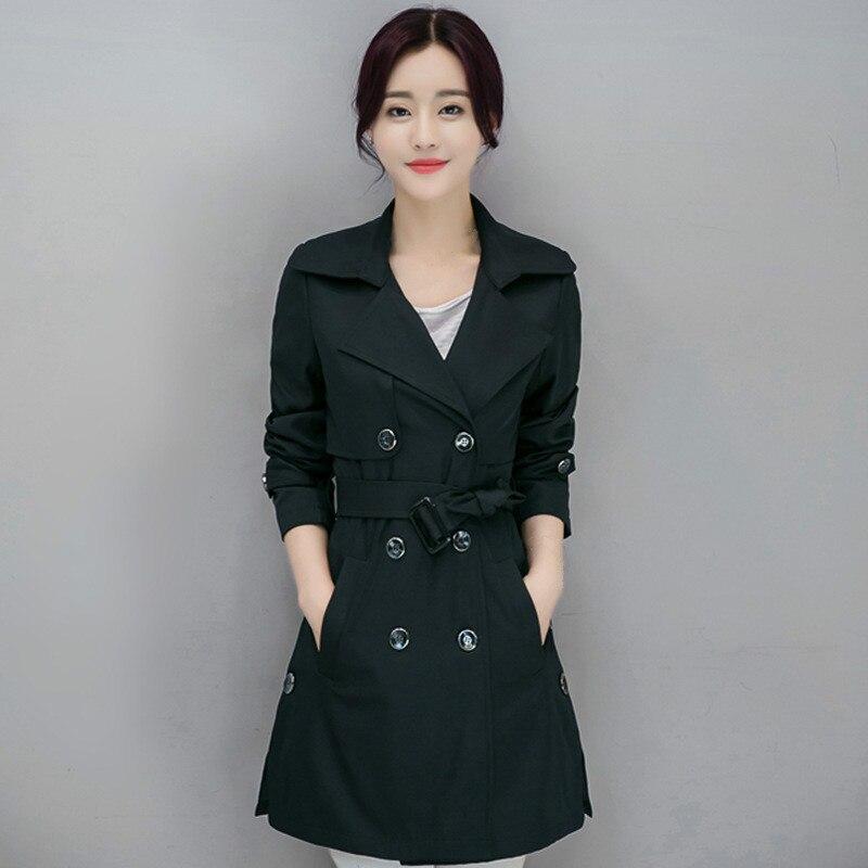 Windbreaker Female Korean Thin Double Breasted Ladies Long   Trench   Coat Overcoat Women Winter Plus Size 4xl Black   Trench   Femme