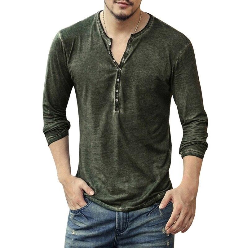 DIHOPE Men Henley Tshirt 2019 Long Sleeve Casual T-shirt Stylish Slim Fit Camiseta Masculina Button Design Men Basic Tops Tees