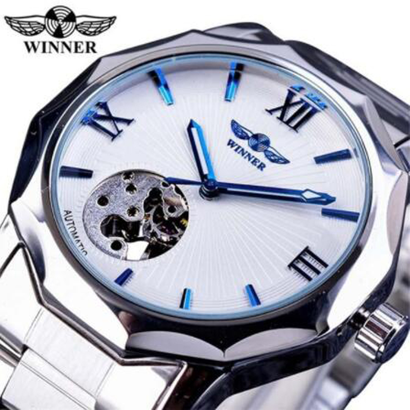 2018 Winner Automatic Skeleton Man Clock Top Brand Fashion Silver Business Stainless Steel Relojes Hombre Clock Mechanical Watch