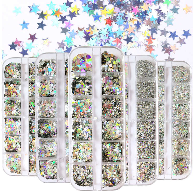 Estrela colorida borboleta prego lantejoulas holográficos prego glitter em pó sparkly shinning flocos palliette decorações de unhas
