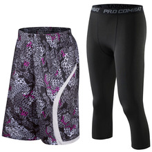 Men Basketball Shorts set,Professional Basketball Compression tights,Loose Breathable Running Fitness Sport shorts training suit