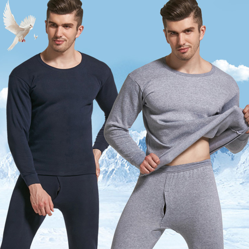 Men Pajamas Underwear-Set Nightwear Sleepwear Male Winter Keep-Warm Pants O-Neck No 2pcs title=