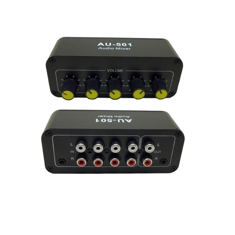 AU-501 Audio stéréo distributeur mixte sélecteur de Signal 5 entrée 1 sortie RCA 3.5MM commandes de Volume carte de tonalité
