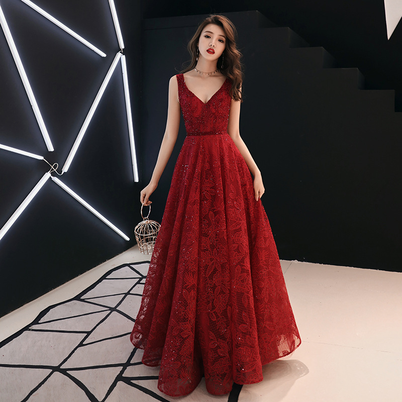 Dress For Toast Bride Spring 2019 Marriage New Style Wine V-neck Annual General Meeting Host Evening Dress Women's Long
