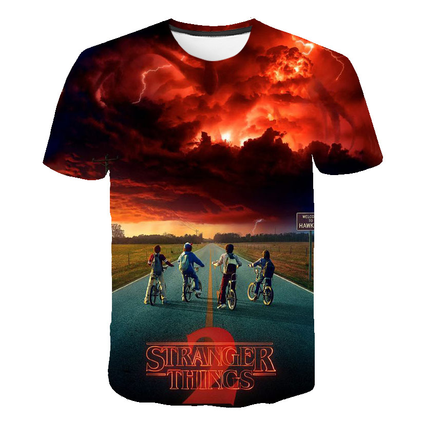 Baby Boy T-shirt Summer 3D Stranger Things Boys Clothes Brand Child Funny T-shirt Harajuku Casual Kids Clothes Streetwear Tops
