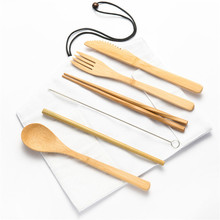 7/8/10pcs/set Bamboo Travel Cutlery Set Wooden Spoon Fork Knife  with Cleaning Brush Tableware Zero Waste