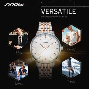 Image 4 - Часы наручные Sinobi Мужские кварцевые, модные золотистые полностью золотистые, оптовая продажа