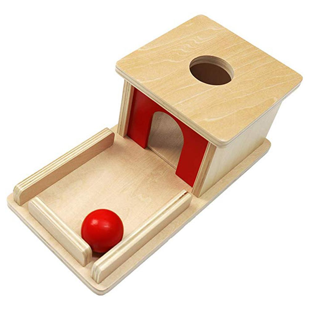 Wood Educational Toy Professional Montessori Material Object Permanence Box With Tray