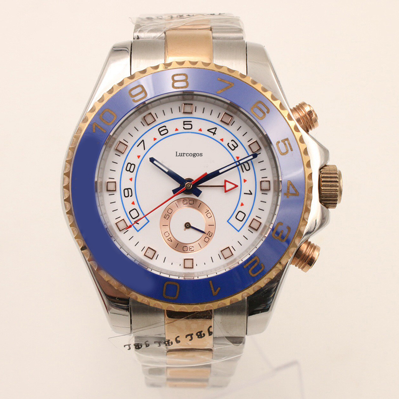 Luxury WristWatches 44mm Yacht Two Tone Rose Gold Stainless Steel Men's Automatic Mechanical Watches Big Dial Chronograph Full