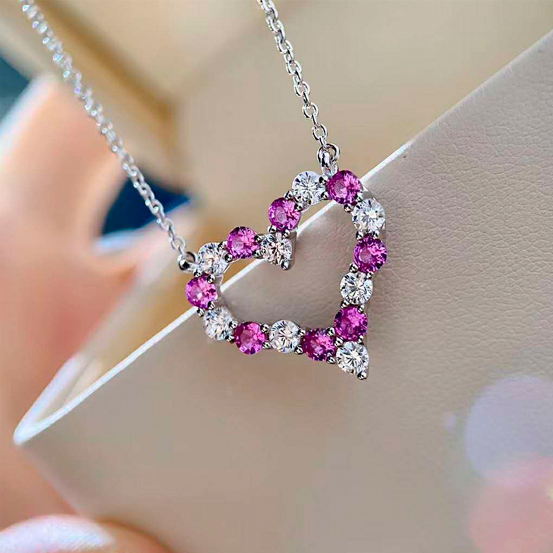 Wong Rain 100% 925 Sterling Silver Round Created Moissanite Pink Sapphire Wedding Engagement Heart Pendant Necklace Fine Jewelry