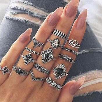 15 Pcs/set Women Fashion Rings Hearts Fatima Hands Virgin Mary Cross Leaf Hollow Geometric Crystal Ring Set Wedding Jewelry 28