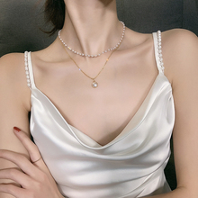 цена на Pendant Necklace Girl Minimalist Style Temperament Contracted Collarbone Chain Necklace Women Jewelry Multilayer Pearl Fashion