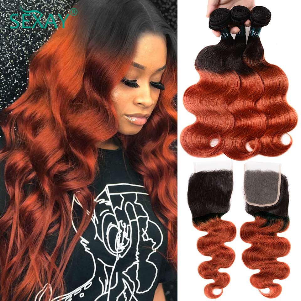 Sexay, объемные волнистые волосы, пряди с кружевом, 350, оранжевые, золотистые, блонд, Remy, бразильские волнистые человеческие волосы с закрытием