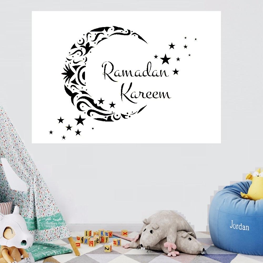 Star Moon Vinyl Wall Sticker Decals Home Decor Bedroom Ramadan Islam Decor