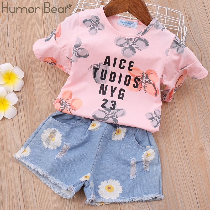 Humor Bear Humor Bear Summer Girls Clothing Set Girl Clothes Toddler Flower Tops +Pants Girls Suit Kids Clothes Baby Clothing