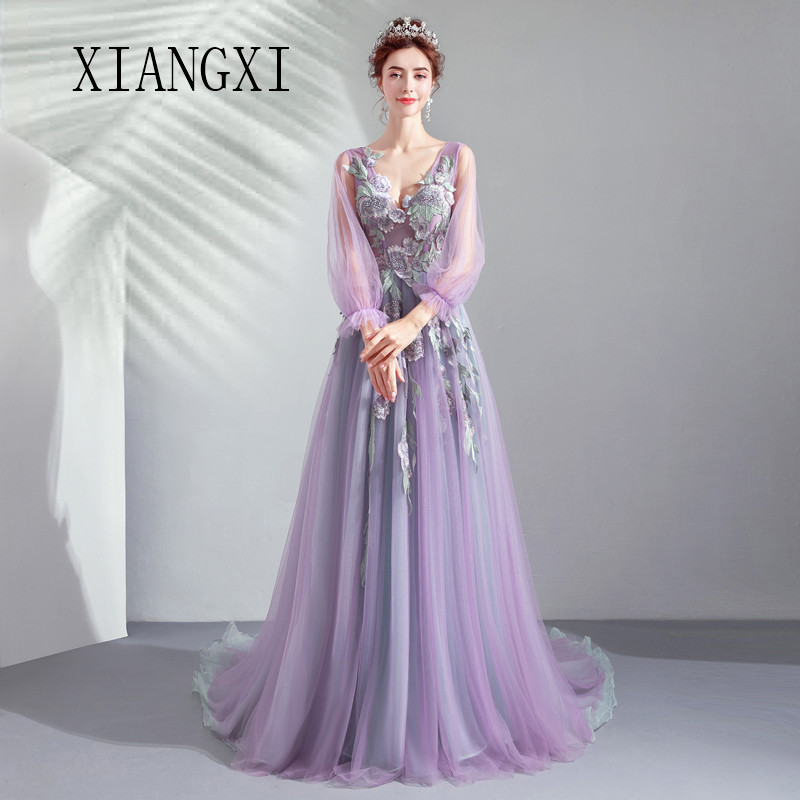 Purple Evening Dresses Long Tulle A-Line V-Neck Full Sleeves Lace Appliques Evening Dress Floor Length Prom Party Gowns Vestidos