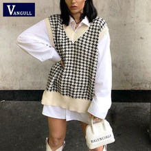 Vangull Fashion Oversized Houndstooth Knitted Vest Sweater Women Vintage Sleeveless Side Vents Female Waistcoat Loose Chic Tops