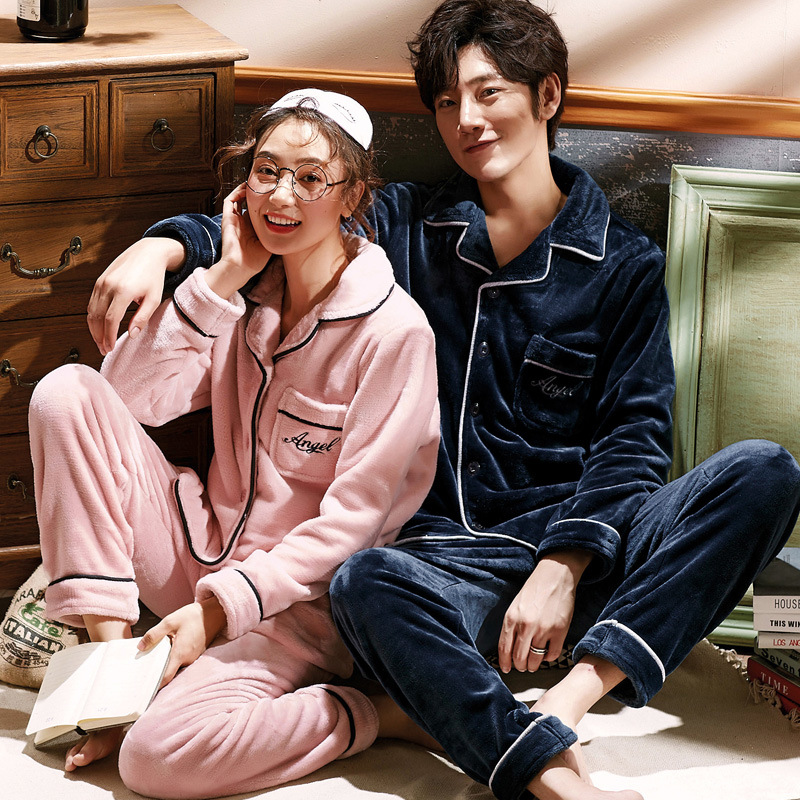 Spring And Autumn Men 's Coral Couple Pajamas Women Winter Extra Warm Flannel Home Wear Suit