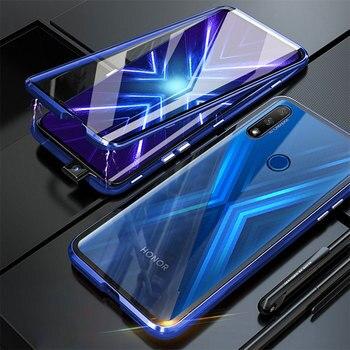 Перейти на Алиэкспресс и купить Магнитный чехол для телефона для huawei honor 9X Global, двусторонний бампер из закаленного стекла, чехол для телефона honor 9 X honor 9x Premium coque