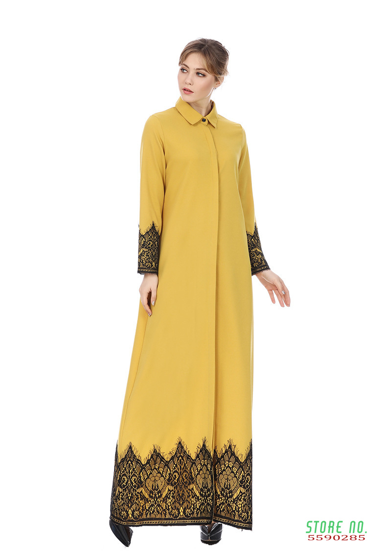 Muslim Arabic Islamic Dubai KaftanAbaya Moroccan Kaftan Middle Eastern Turkey Pakistani Dress Plus Size Solid Robe Dubai image