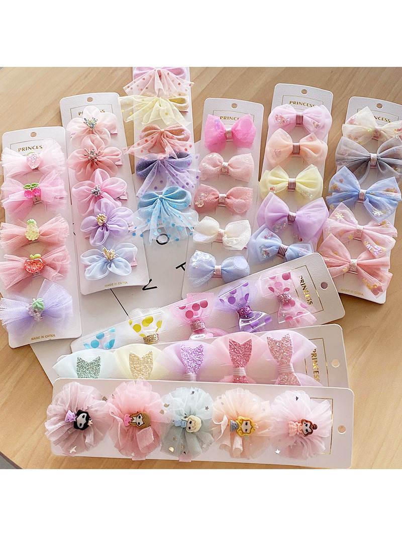 5pc/set Cute Children's Bow Hair Clips Set Fabric Hairpin Hair Accessories for Girls