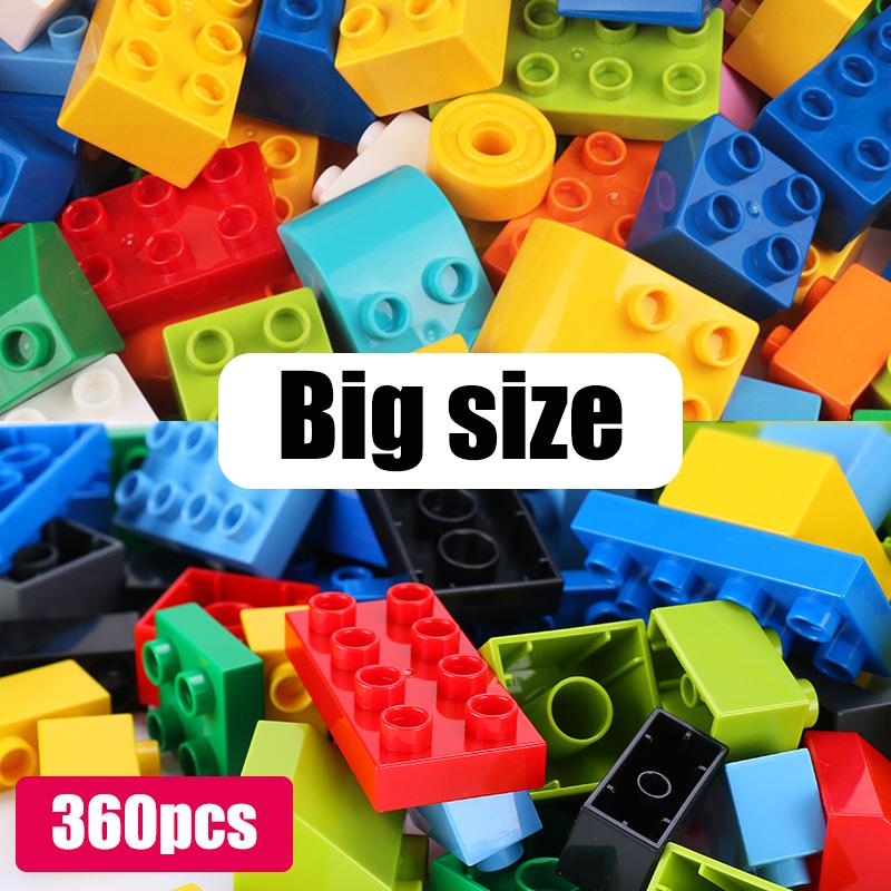 60~360Pcs Big Size Brick Colorful Bulk Bricks Base Plates DIY Building Blocks Compatible Block Toys for Children