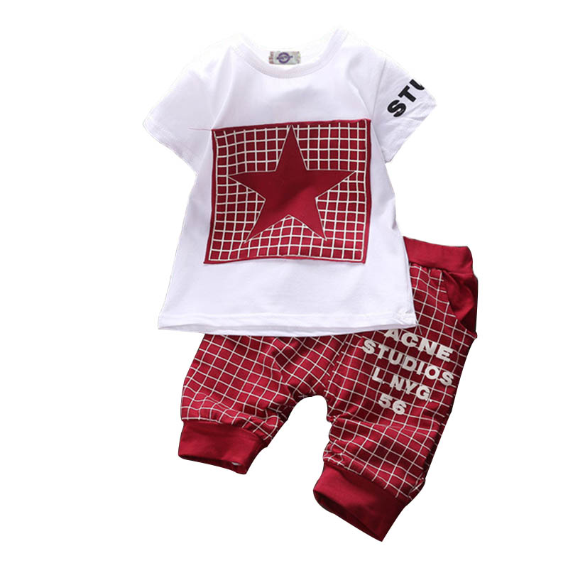 Hot Sale BabyBoy Clothes Brand Summer Kids Clothes Sets T-shirt+Pants Suit Star Printed Clothes Newborn Sport Suits