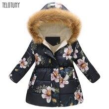 TELOTUNY-зимние теплые пуховики для девочек Детская плотная теплая верхняя одежда с цветочным принтом Одежда для детей ветрозащитные пальто для маленьких девочек 927