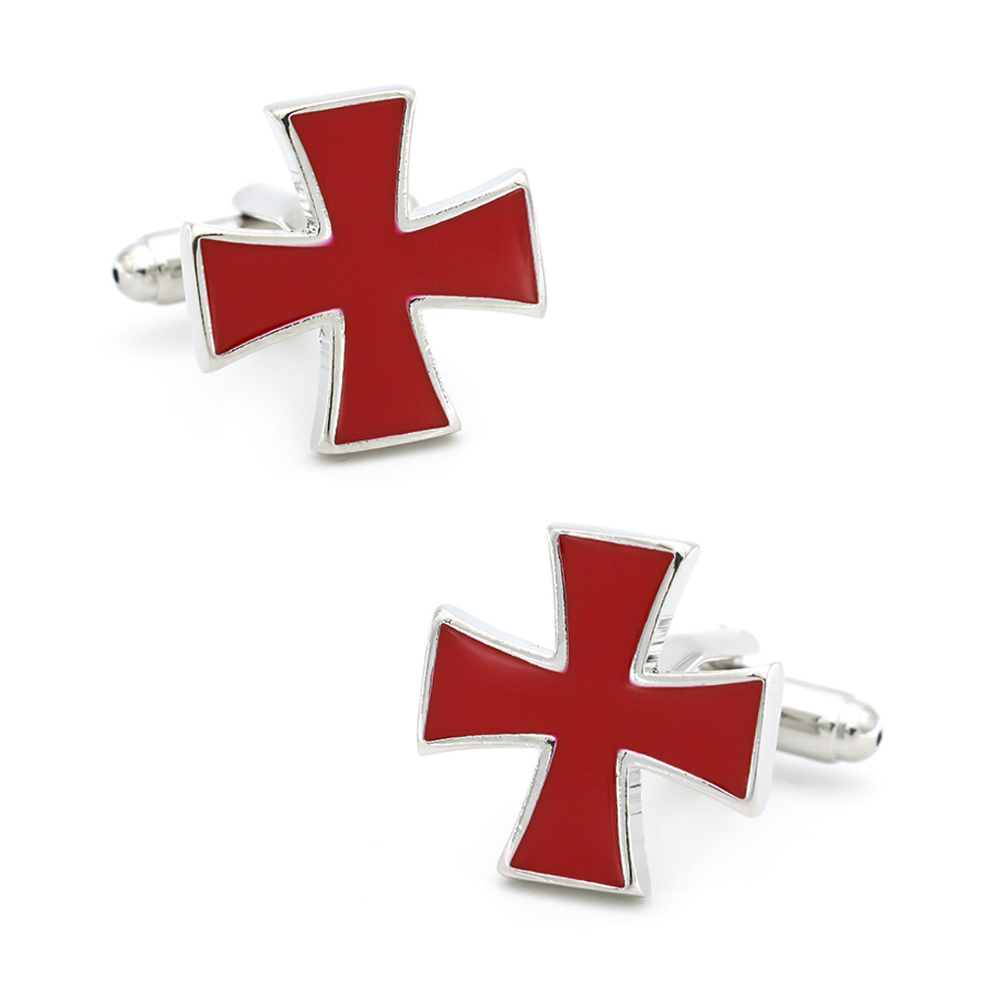 Faith Design Cross Cufflinks For Men Quality Copper Material Red Color Cuff Links Wholesale&retail
