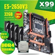 Atermiter X99 D4マザーボードxeonで設定E5 2650 V3 LGA2011 3 cpu 4個のx 8ギガバイト = 32ギガバイト2666mhz reg ecc recc DDR4メモリ