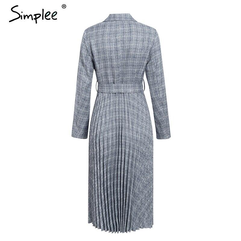 Simplee A-line v-neck blazer women midi dress Elegant long sleeve button sash female blazer dress Pleated office ladies dress 5
