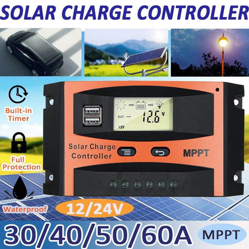 MPPT eficiente 30A/40A/50A/60A 12V 24V Auto Solar Controlador de Carga Dupla USB LCD controladores de exibição Regulador Painel da Célula Solar