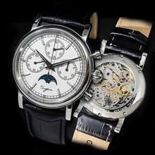 Super Lichtgevende Pilot Chronograph Mechanische Horloges Mannen 100% ST1908 Beweging 1963 Maan Fase Nato Kalender Mannen Polshorloge