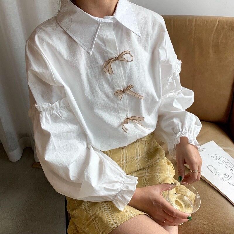 Sweet Lolita Shirt Mori Girls Autumn Spring Fresh Japanese Style Long Lantern Sleeve White Bow Blouse Blusa Feminina