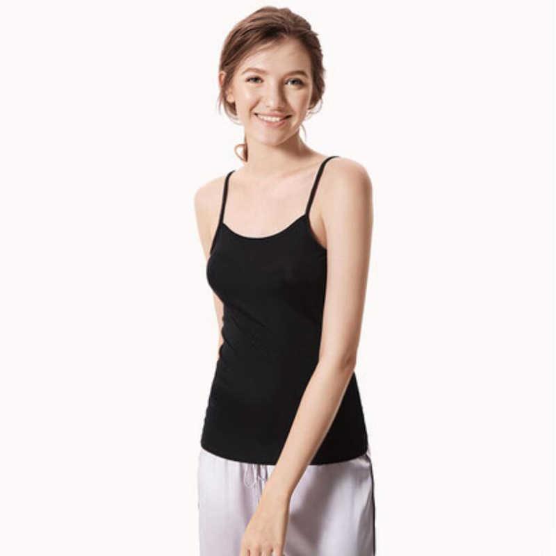 Bogeda 2019 nowy kobiety lato jedwabne Camisole kobiety podstawowe 100% jedwabiu bluzki na co dzień stałe czystego jedwabiu zbiornik topy biały czarny lady Top
