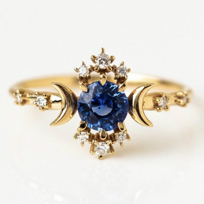 Горячая Распродажа, новое кольцо со звездой и луной, креативное инкрустированное темно-синим цирконием, модные ювелирные изделия для женщи...