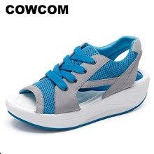 COWCOM yaz ağız kalın alt sallanan ayakkabı sandalet rahat çam kadın ayakkabısı moda spor rahat bez ayakkabı CYL 2717