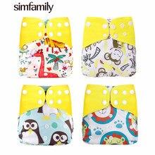 [Simfamily] 4 pçs/set Lavável Eco Reutilizáveis Fralda de Pano Do Bebê Ajustável Fraldas de Pano Fralda Capa Fit 3-15kg Bebê