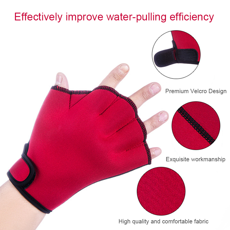 1 Pair Swim Fins Hand Surfing Frogs Webbed Flippers Gloves Half Fingers Paddles Training For Swimming Webbed Paddle