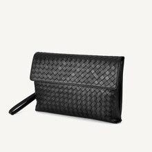 Bolsa de couro dos homens de alta qualidade saco envelope artesanal tricô carteiras cartão longo bolsa de embreagem wristlet saco acessível