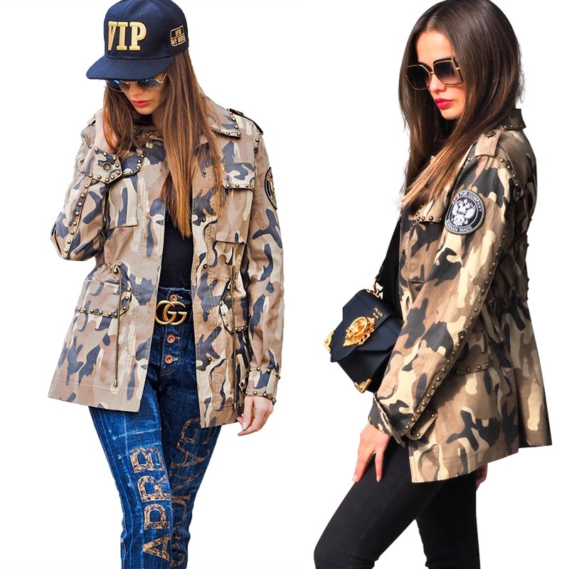 2019 Autumn Women Harajuku Rivet Jacket Coat Camouflage Jacket image