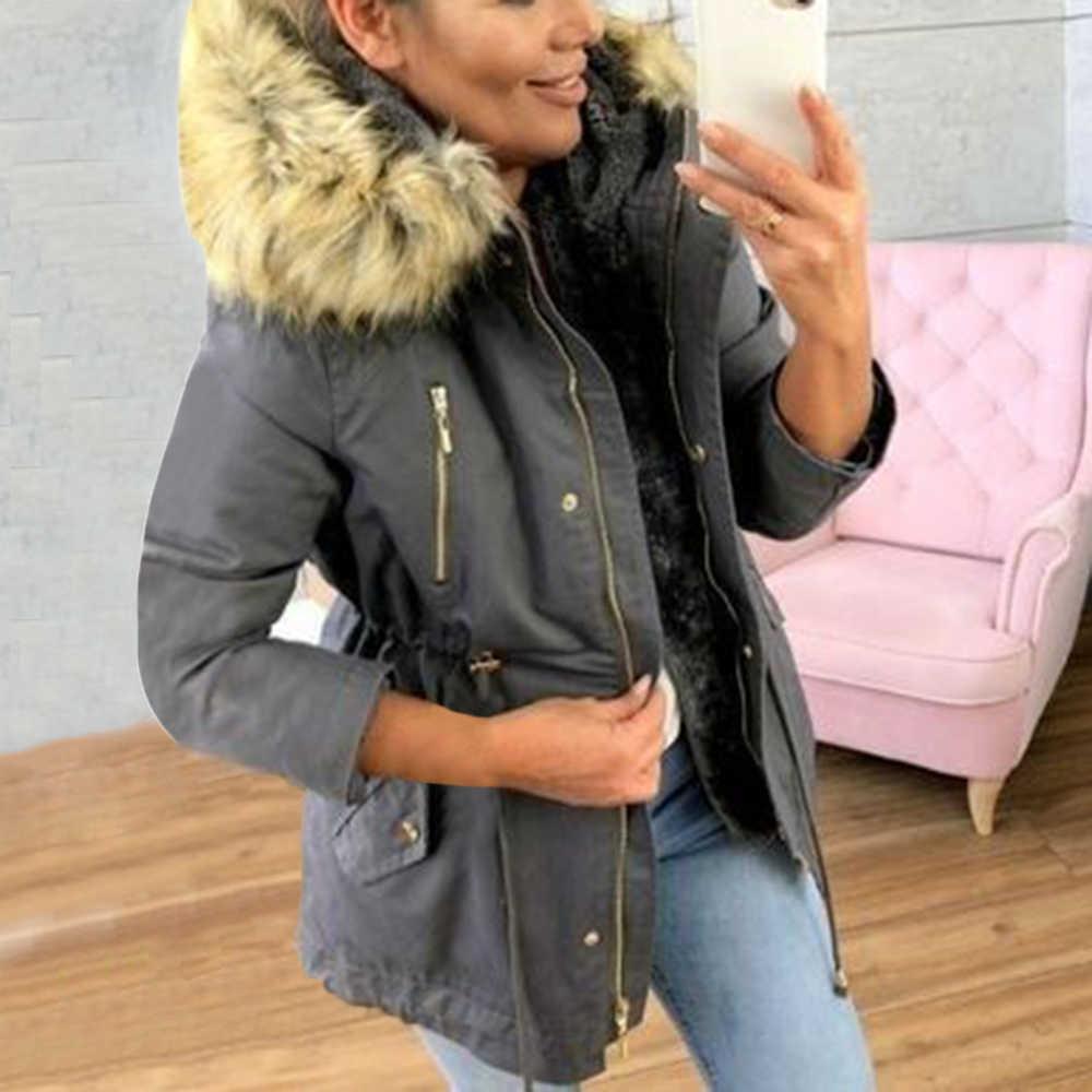2019 mode Mantel Frauen Winter Mit Kapuze Neue Stil Zip Up Mantel Casual Femme Verdicken Baumwolle Dame Warme Winter Jacke mit pelz Kragen